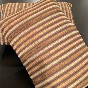 Set of 2 Chenille Stripe Throw Pillows